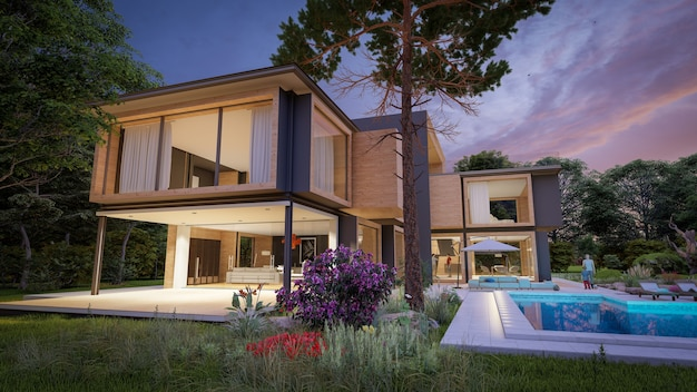 3d rendering of a large modern contemporary house in wood and concrete in early evening