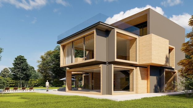 3d rendering of a large modern contemporary house in wood and concrete