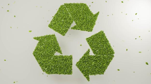 3d 렌더링 나뭇잎 형성 재활용 기호 녹색 자연 환경 재활용 추상 그림 배경 개념 생분해 성 플라스틱 무료 패키지 기호