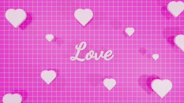 愛のレタリングの3dレンダリング