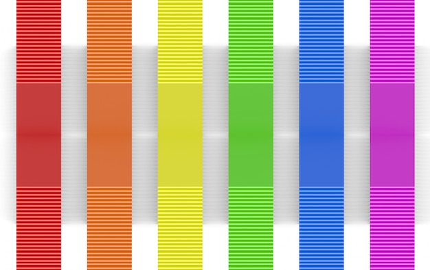 3d rendering. lgbt rainbow color design panel bars on white wall background.