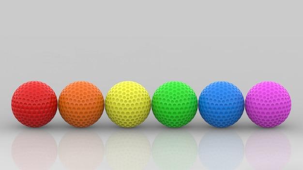 3d 렌더링. lgbt 무지개 색 골프 공 회색 벽에 행.