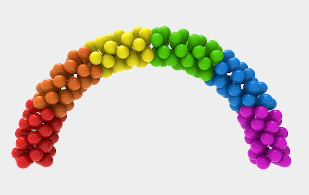 3d rendering. lgbt rainbow falg color balloon cruve gate  with clipping path isolated on white .