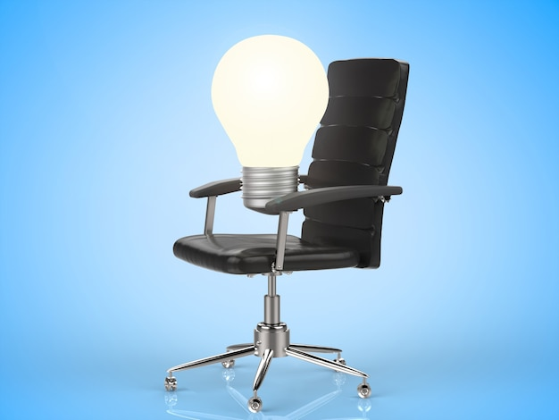 オフィスチェアの3dレンダリング電球
