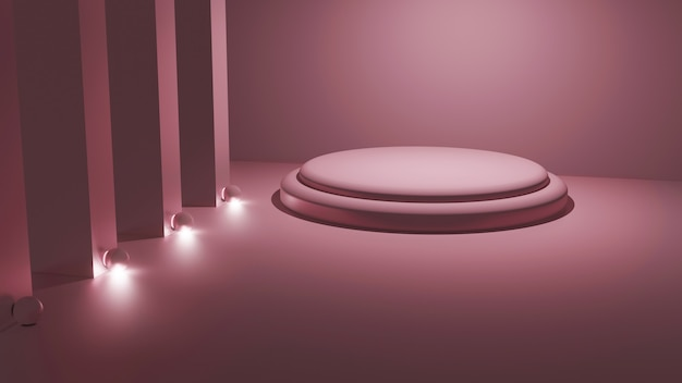 3d rendering of light pink platform mockup in a square room