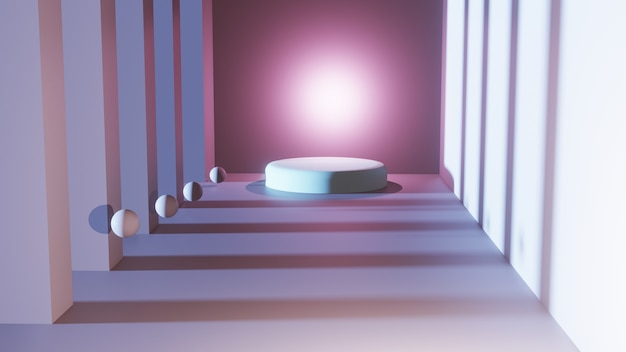 3d rendering of light pink platform  in a square room