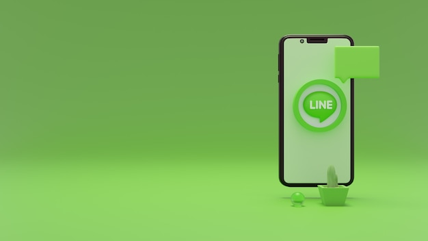 3d rendering of line logo with mobile phone space for your ads