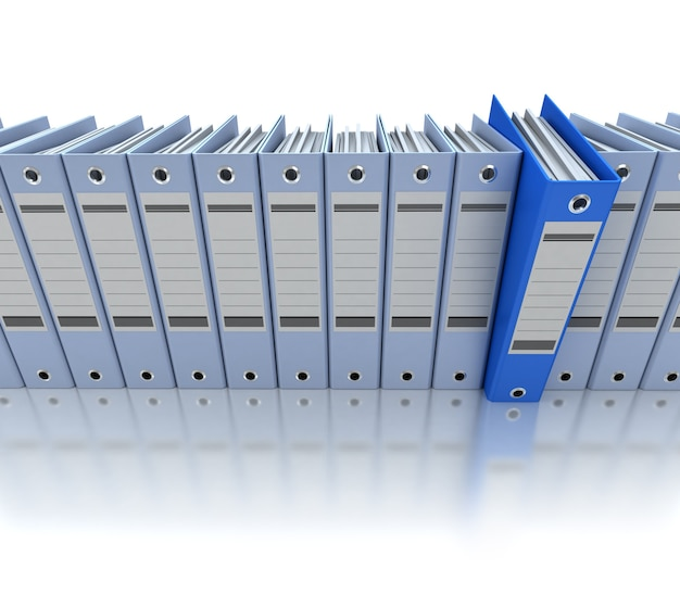 3d rendering of a line of office ring binders with one sticking out