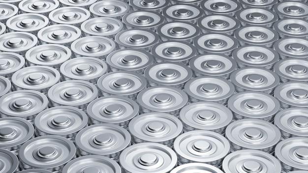 공장에서 3d 렌더링 리튬 이온 배터리 리튬 이온 배터리는 전기 자동차 ev 개념 기술 그림 배경 제조 라인을 공급합니다.