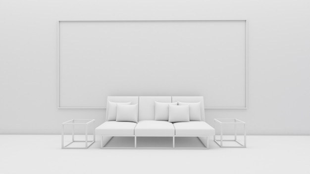 3d rendering of living room interior design, sofa and pillow, mockup on white screen