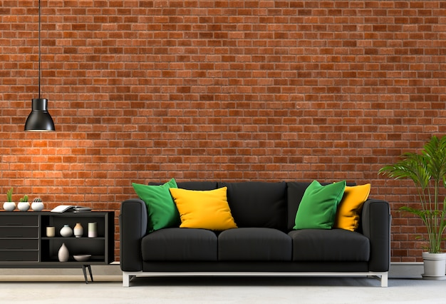 3d rendering of living room with brick  wall in modern house