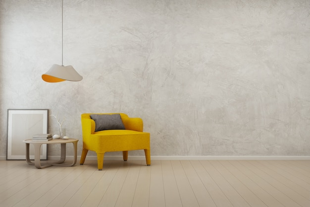 3d rendering of living room with empty concrete wall background in modern house.
