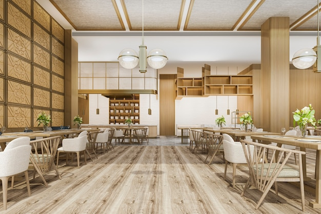 3d 렌더링 로프트 및 고급 호텔 리셉션 및 스칸디나비아 카페 라운지 레스토랑