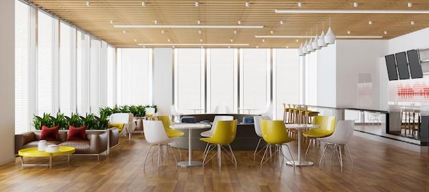 3d 렌더링 로프트 및 고급 호텔 리셉션 및 빈티지 카페 라운지 레스토랑