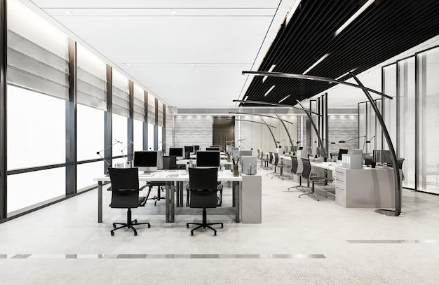 3d-рендеринг лофт для деловых встреч и рабочей комнаты на офисном здании