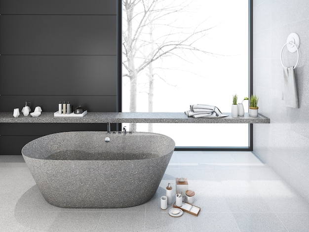 3d rendering loft minimal bathroom in winter