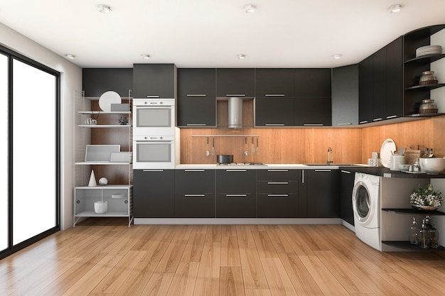 3d рендеринг чердак современная черная кухня с деревянным декором