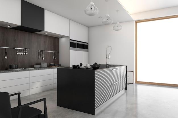 3d рендеринг лофт современная кухня возле окна