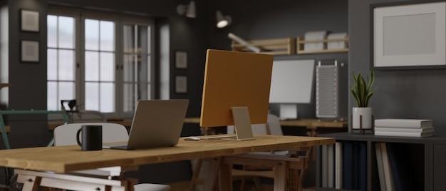 3d-рендеринг лофт комната рабочее место офисные принадлежности концепция компьютерные устройства украшения и велосипед