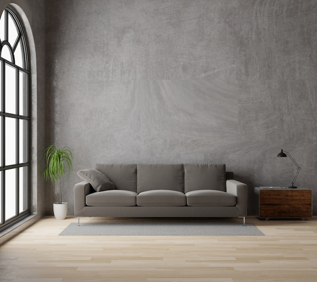 3d rendering loft style living room with brown sofa raw concrete ,wooden floor,big window,tree