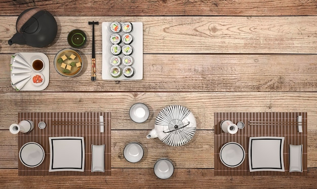3d rendering look delicious  sushi plate with black bowl soup on dining table