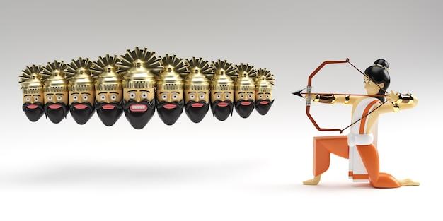 3d-рендеринг господа рамы со стрелой, убивающей равану на фестивале наваратри в индии плакат душера.