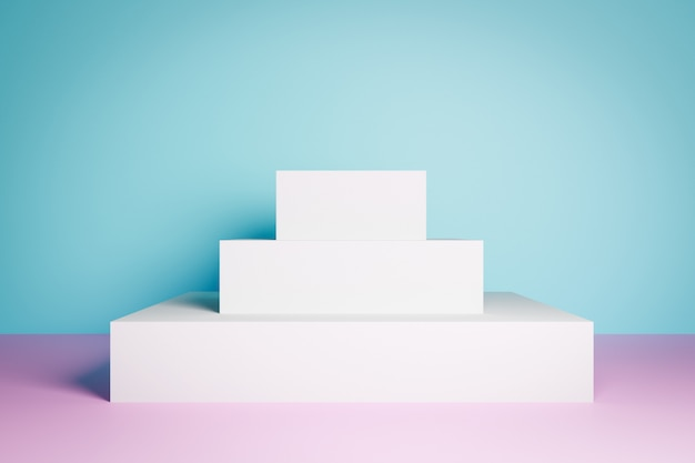 3d rendering. ð¡lose-up of the white isosceles pyramid, pedestal. a scene from rectangles on a pink floor and a blue wall