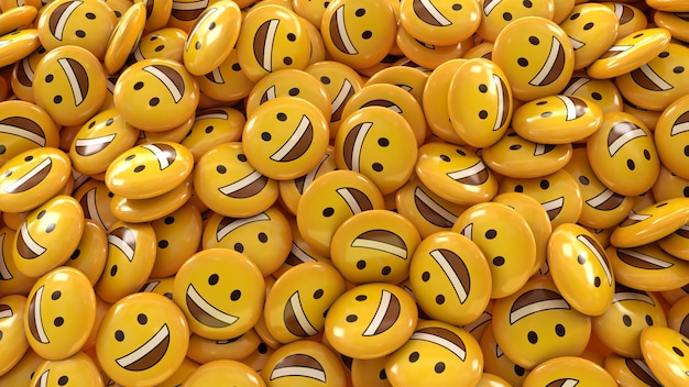 3d rendering of a lot of smiling emojis in glossy pills