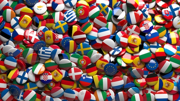 3d rendering of a lots of european union's flags glossy buttons in a close up