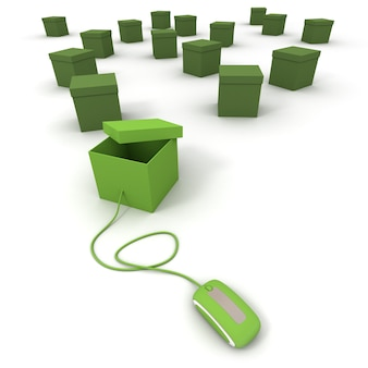 3d rendering of lots of green boxes, one of them connected to a mouse
