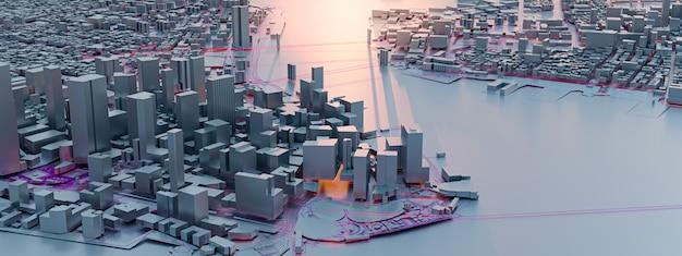3dレンダリング。低ポリ街の景色。都市技術の概念。
