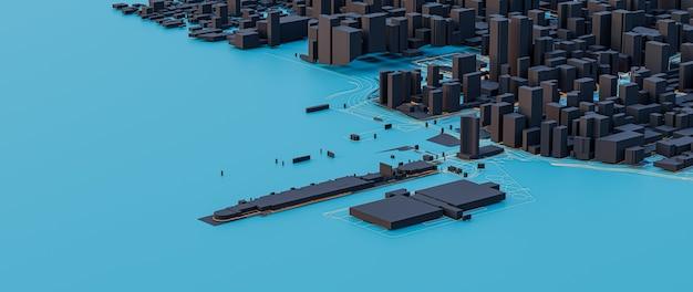 3d 렌더링. 낮은 폴리 도시 전망. 도시 기술 개념.