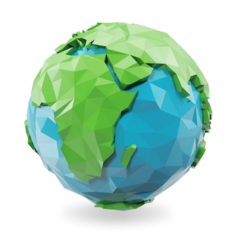 3d rendering low poly earth globe illustration. polygonal globe icon, low poly style