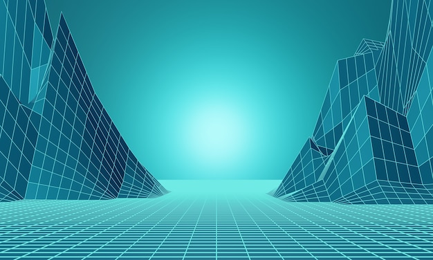 3d rendering. low poly mountain grid. greenish blue topographic background.