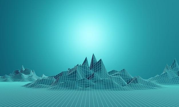 3d 렌더링. 낮은 폴리 산 그리드. 녹색 파란색 지형 풍경.