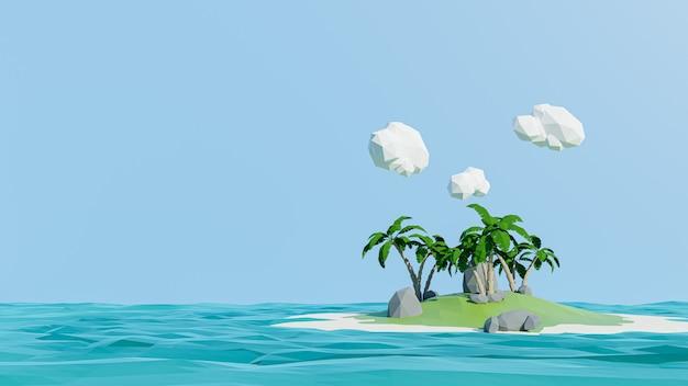 3d-рендеринг. низкий полигональный остров. концепция приключений и отдыха
