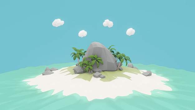 3d rendering. low polygonal island. adventure relax concept
