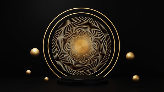 3d rendering of luxurious gold ring wigh design inside on black background