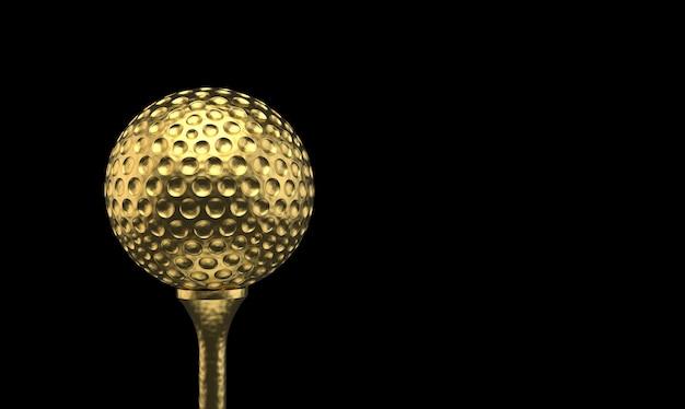 3d-рендеринг. роскошный золотой мяч для гольфа на тройник приз с обтравочный контур, сложенные.