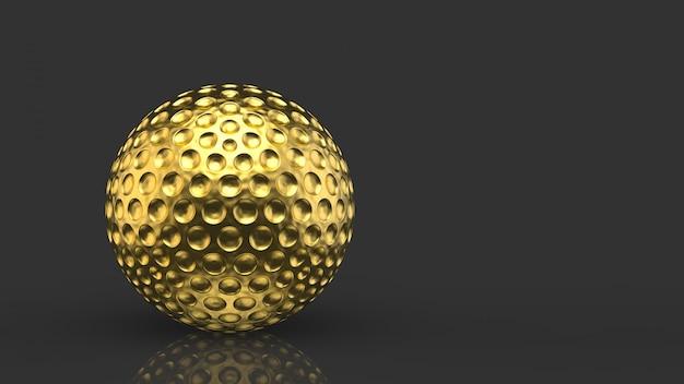 3d-рендеринг. роскошный золотой мяч для гольфа на темно-сером фоне.
