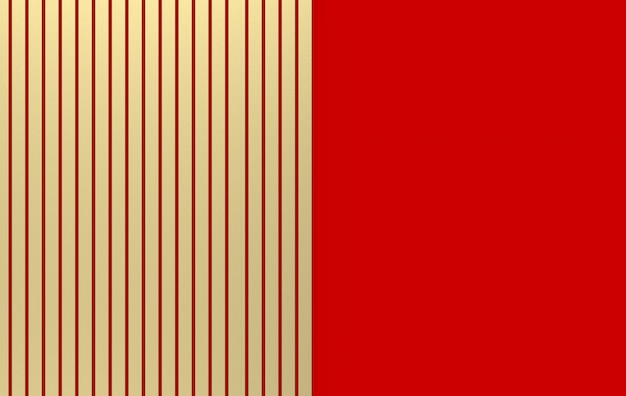 3d rendering. luxurious golden parallel bars on red wall background.
