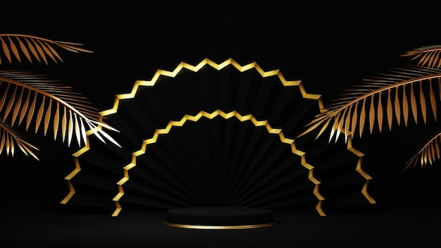3d rendering of luxurious golden podium with gold palm tree leaves on black background