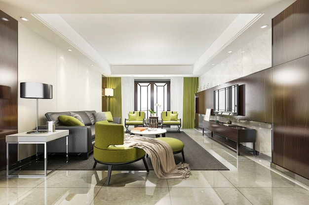 ソファ付きの3 dレンダリングの豪華でモダンな緑のリビングルーム