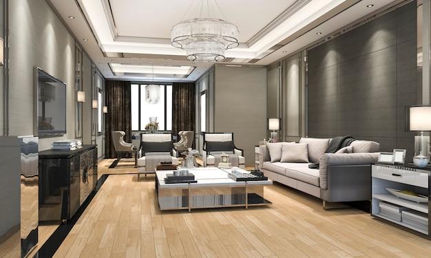 3d 렌더링 고급 스러움과 현대 거실 및 식당