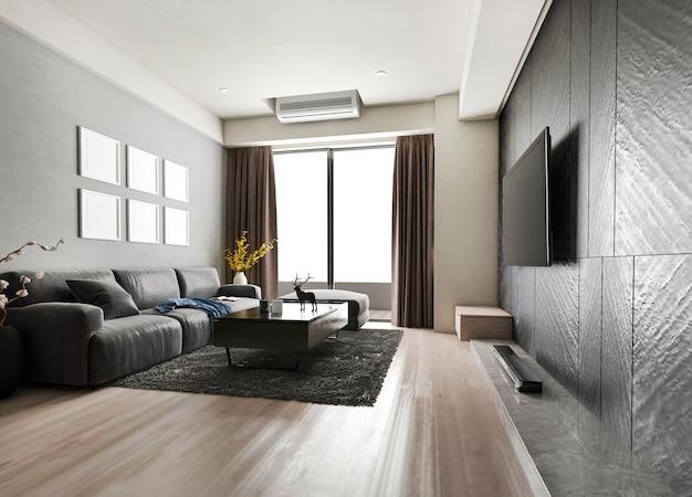 3d рендеринг роскошной и современной гостиной с тканевым диваном