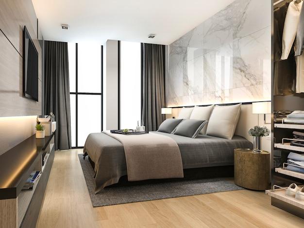良いデザインの革のソファ付きの3 dレンダリングの豪華でモダンなリビングルーム