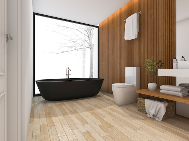 3d rendering luxury bathroom near window with bathtub