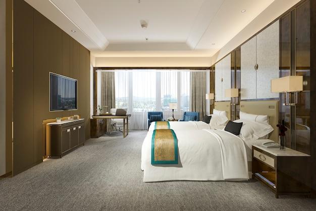 ツインベッドを備えたリゾートの高層ホテルの3dレンダリングの豪華なベッドルームスイート