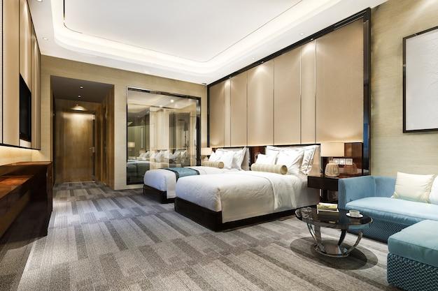 3d рендеринг роскошной спальни в курортном отеле с двумя односпальными кроватями и ванной комнатой