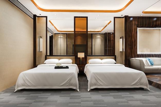 트윈 침대와 거실이 있는 리조트 호텔의 3d 렌더링 럭셔리 침실 스위트